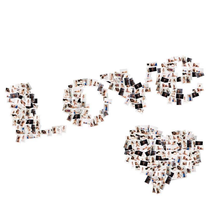 Wort mit Love und Herz aus Bildern vom Fotoshooting im Fotostudio Keepsmile, Castrop-Rauxel bei Dortmund, Herne oder Bochum