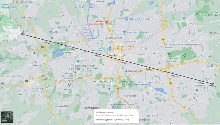 Entfernung mit Google Maps messen